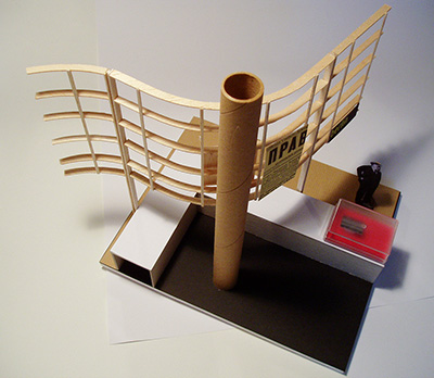 Model of an exhibition proposal for early twentieth century books and magazines; designed by Calum Storrie