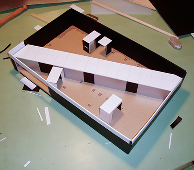 Scale model for a social history exhibition designed by Calum Storrie