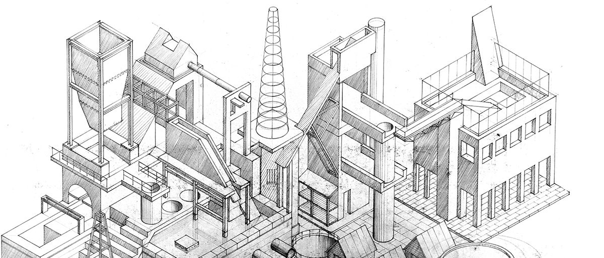 Detail, drawing of Piranesian urban complex in pen and ink, by Calum Storrie