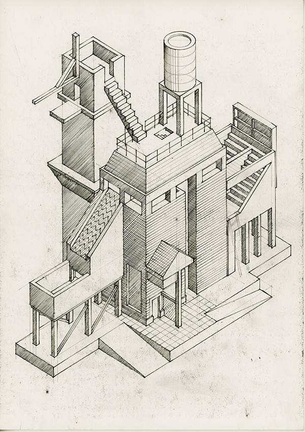 Drawing Works1001, axonometric of imaginary towers by Calum Storrie
