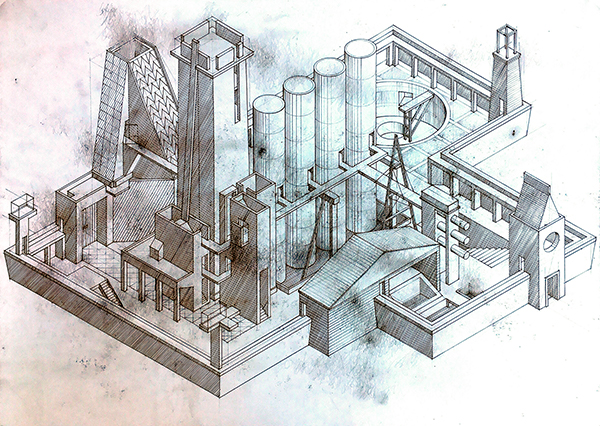 Drawing 001, axonometric of imaginary city by Calum Storrie